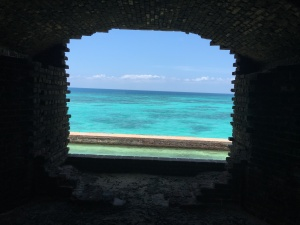 From inside fort looking out view